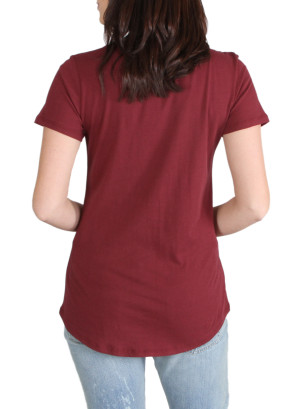 Scoop neck pocket tee with verbage-WH-24AE2096A-WINE
