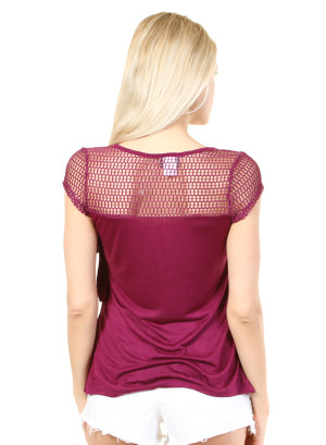 Scoop neck, cap sleeve, ruffle top with peekaboo net yoke-WH-7419LV3690-BERRY