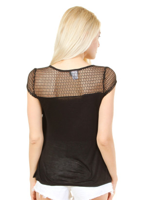 Scoop neck, cap sleeve, ruffle top with peekaboo net yoke-WH-7419LV3690-BLACK
