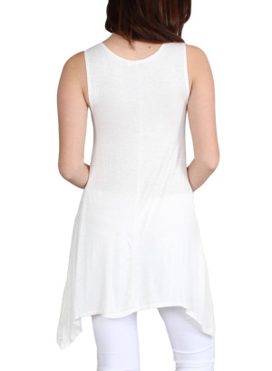 Scoop neck long sharkbite hem tank top-WH-AY15146-IVORY
