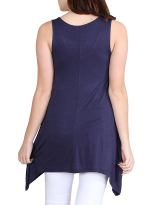 Scoop neck long sharkbite hem tank top-WH-AY15146-NAVY