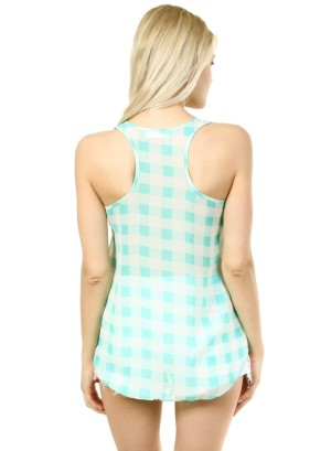 Round-shirred neck, checkered chiffon racer back hi-low tank.WH-BT1486-MINT