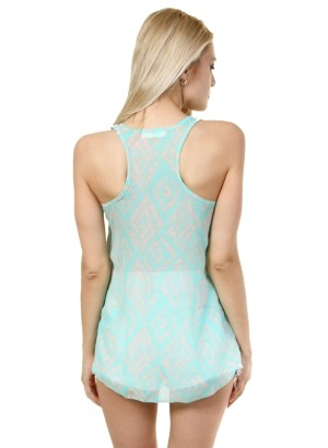 Round-shirred neck, hi-low geo print chiffon racer back tank.-WH-BT1486-MINT/GREY