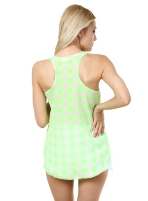 Round-shirred neck, checkered chiffon racer back hi-low tank. WH-BT1486-NEONGREEN