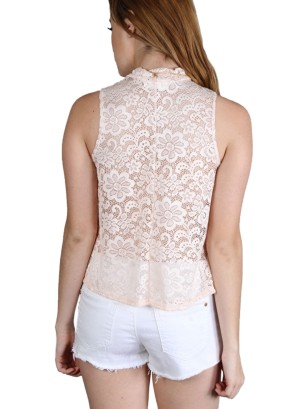 Sleeveless turtle neck floral full-lace top with necklace.WH-BT1855-BLUSH