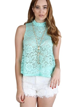Sleeveless turtle neck floral full-lace top with necklace.WH-BT1855-MINT
