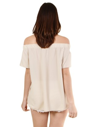 Garterized off shoulder short sleeve solid top-WH-BT2022P-OATMEAL