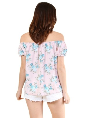 Garterized off shoulder and sleeve tie front floral top-WH-BT2108P-BLUSH