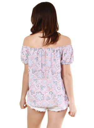 Garterized off shoulder and sleeve tie front floral top-WH-BT2108P-ROSE/IVORY