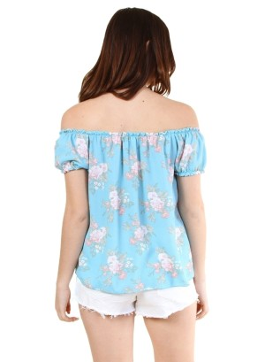 Garterized off shoulder and sleeve tie front floral top-WH-BT2108P-TURQUOISE
