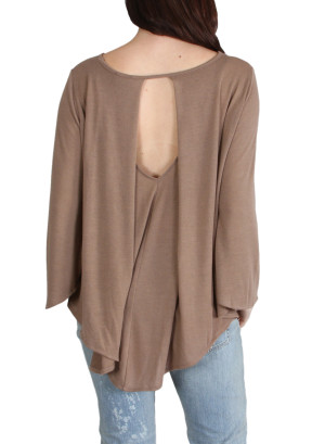 Boat neck, bell sleeve hi-low hem with open mid-back and pleat cape-WH-DBC012417-BROWN