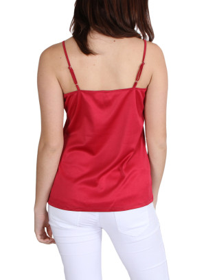 Adjustable spaghetti strap top-WH-T006283-BERRY