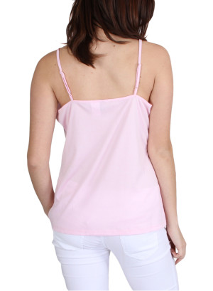 Adjustable spaghetti strap top-WH-T006283-PINK