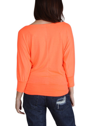Scoop neck quarter dolman sleeve top with banded hem-WH-T1134-NEONORANGE