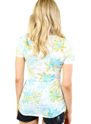 WOMEN'S FLORAL SHORT SLEEVE TEE. FH-56910-IVORY