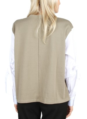 TIE-SLEEVE LONG SLEEVE TOP. FH-IT2066-BEIGE/WHITE